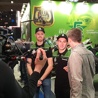 Filming an interview with kawaski racer